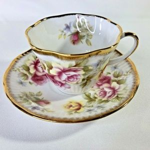 Queens Rosina Teacup And Saucer Pink Yellow Roses